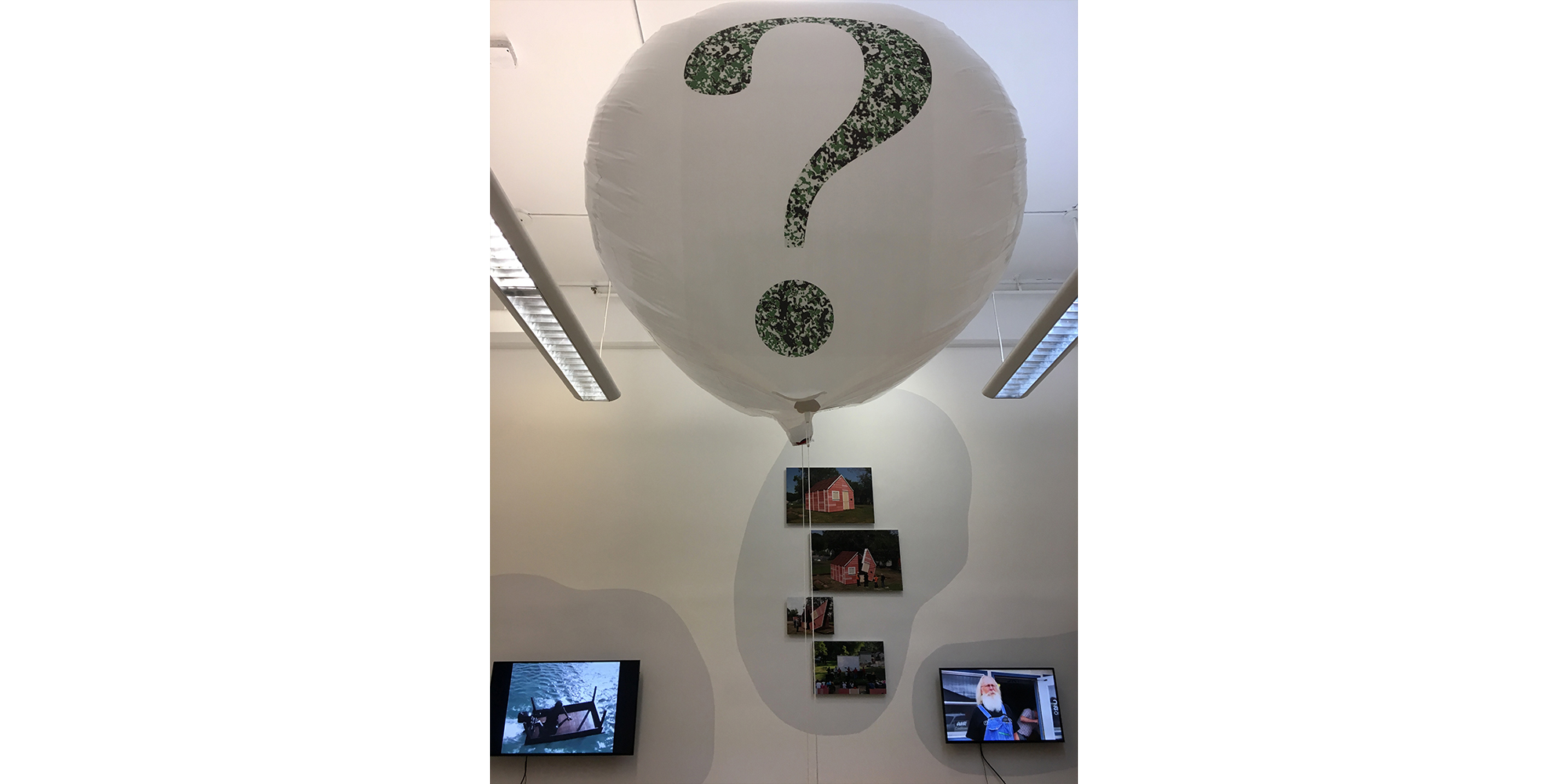 L-R: Jennifer Allora (S.M. Visual Studies, 2003) and Guillermo Calzadilla Under Discussion Single channel video with sound, 6 minutes 14 seconds 2005; Hiroharu Mori (S.M. Visual Studies, 2004) A Camouflaged Question in the Air Balloon 2003/2017; Matthew Mazzotta (S.M. Visual Studies, 2009) OPEN HOUSE and THE STOREFRONT THEATER  Documentary images and video, 2013, 2015